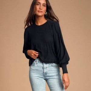 Free People Billie Cropped Contrast Tee. L